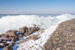 Winter seascape with hummocks along Dutch coast Stock Image