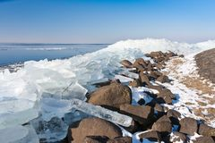 Winter seascape with ice hummocks Stock Images