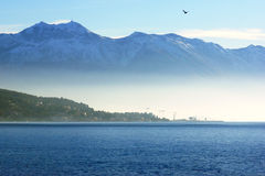 Winter seascape. Mountains and the sea in the winter (Boca Bay of Kotor, Montenegro Royalty Free Stock Photos