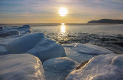 Winter seascape at sunset Royalty Free Stock Images