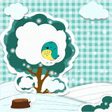 Winter Season Background. Winter Cartoon Landscape in the style of children's applique Royalty Free Stock Photos