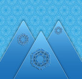 Winter season background with hills and snowflakes Royalty Free Stock Photo