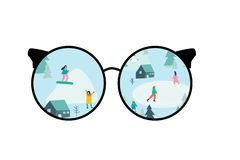 Through glasses.Campaign with tents in the forest. stock illustration