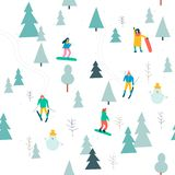 Skiing seamless pattern with people skiing and snowboarding in the snow forest in vector. vector illustration