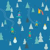 Skiing seamless pattern with people skiing and snowboarding in the snow forest in vector. stock illustration