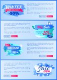 Winter Season Best Discount 30 Off 2017 Final Sale. Winter season best discount -30 off 2017 final sale 70 labels with snowballs and snowflakes on abstract blue Stock Photo