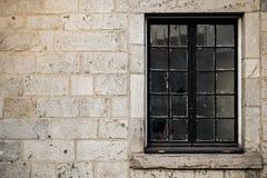 Winter season brick wall texture background with glass window fo Stock Photo