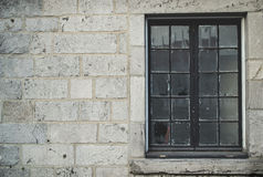 Winter season brick wall texture background with glass window fo Stock Images
