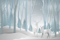 Winter season and Christmas day, Deer in forest landscape with s stock illustration