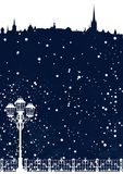 Winter season city skyline with falling snow vector background Royalty Free Stock Images
