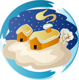 Winter season clipart. Illustrations vector of houses in winter season with snow falling down Royalty Free Stock Image