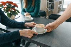 Winter season in the coffee shop. Closeup hand of man barista with cup of art coffee, table with sitting women, red Christmas. Flower royalty free stock images