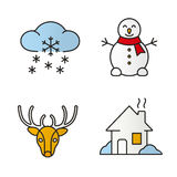 Winter season color icons set Royalty Free Stock Images