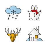 Winter season color icons set vector illustration