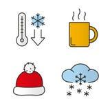 Winter season color icons set Stock Photo