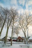 Winter season in countryside stock images