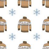 Winter season doodle clothes seamless pattern.. Hand drawn sketch elements warm raindeer sweater socks, gloves and hats. vector background illustration Royalty Free Stock Photo