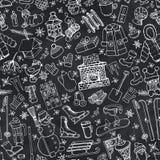 Winter season doodle symbols seamless pattern.Chalk Stock Photo