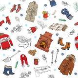 Winter season doodles seamless pattern. Hand drawn sketch elements fireplace, glass of hot wine, clothes, warm blanket, socks, glo. Ves and hat. vector Royalty Free Stock Image
