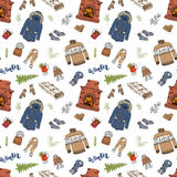 Winter season doodles seamless pattern. Hand drawn sketch elements fireplace, glass of hot wine, clothes, warm blanket, socks, glo. Ves and hat. vector Royalty Free Stock Photos