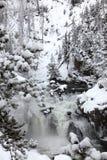 Winter season at falls stock photo