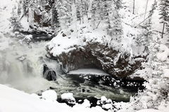 Winter season at falls of Yellowstone royalty free stock photos