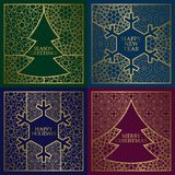 Winter season greetings cards covers set. Golden backgrounds with frames in Christmas tree and New Year snowflake shapes.  Stock Photography