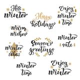 Winter season greetings Set text. Calligraphy, lettering design. Typography for postcards, posters, banners. Vector illustration. Winter season greetings Set stock illustration