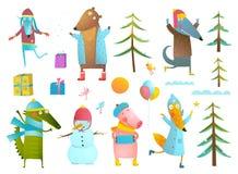 Winter season holiday animals clip art collection for kids Stock Photos