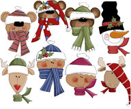 Winter Season Holiday Heads Stock Images