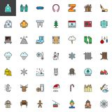 Winter season holidays filled outline icons set. Line vector symbol collection, linear colorful pictogram pack isolated on white. Signs, logo illustration, web Stock Photography