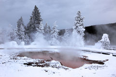 Winter season at hot lake of Yellowstone Royalty Free Stock Images