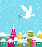 Winter Season Houses And White Dove With Green Branch Royalty Free Stock Photography