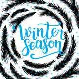Winter season lettering design. Vector illustration, blue letters with christmas tree branches frame background. Happy New Year an. D Merry Christmas Seasonal Vector Illustration