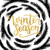 Winter season lettering design. Vector illustration, gold letters with christmas tree branches frame background. Happy New Year an. D Merry Christmas Seasonal Vector Illustration