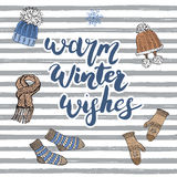 62d64d0c2783 Winter Season Lettering Warm Winter Wishes. Hand Drawn Set Sketch ...