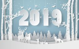 Happy new year and winter season with snow,animal. stock illustration