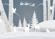 Winter season and merry christmas with the animal in the forest, paper art and craft style royalty free illustration