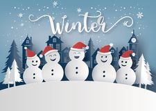 Winter season and Merry Christmas with snow man vector illustration