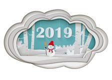 Winter season and merry christmas with snowman,paper art and digital craft style royalty free illustration