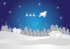 Winter season at night background with house and snow in forest on blue background, christmas background Royalty Free Stock Photo