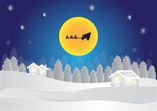 Winter season at night background with house and snow in forest on moon background, christmas background Stock Photos