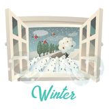 Winter season outdoor view on garden or field. View through window with snowflakes at winter season on garden or field. Landscape with tree crown in snow and Stock Image
