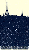 Winter season Paris scene - eiffel tower and falling snow vector Royalty Free Stock Photography