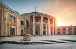 The winter season at the river station. The building of of river station, covered by snow in winter evening Stock Photography
