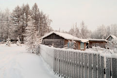 Winter season in Russian village Royalty Free Stock Image