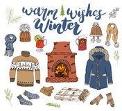Winter season set doodle elements. Hand drawn sketch colection with fireplace, glass of hot wine, boots, clothes, warm blanket, so. Cks, gloves and hats Royalty Free Stock Images