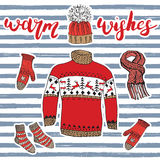 Winter season set doodle elements. Hand drawn sketch colection with warm clothes, socks, gloves, sweater and hat. Lettering warm w Stock Image
