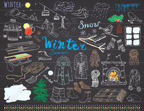 Winter season set doodles elements. Hand drawn set with glass hot wine, boots, clothes, fireplace, mountains, ski and sladge, warm. Blanket, socks and hats, and Royalty Free Stock Photos