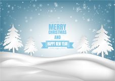 Winter season with snowflake and tree. Vector illustration of Merry Christmas and Happy new year Royalty Free Stock Photos